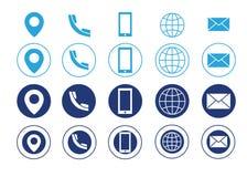Blått för symboler för information om kontakt för vektoraffärskort Arkivbild