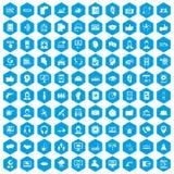 100 blått för uppsättning för symboler för appellmitt vektor illustrationer