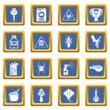 Blått för uppsättning för symboler för giftfara kvadrerar giftliga vektorn royaltyfri illustrationer