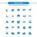 Blått för vädersymbolsuppsättning royaltyfri bild