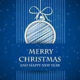 Blått förbjudit julkort 2 stock illustrationer