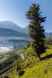 Blått flod- och berglandskap Arkivbilder