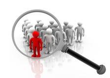 blått folkmassadiagram grå mänsklig loupe ut över höger sökande plattform för person Fotografering för Bildbyråer