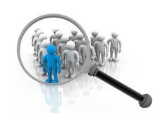 blått folkmassadiagram grå mänsklig loupe ut över höger sökande plattform för person Arkivfoton