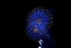blått fyrverkeri Royaltyfri Fotografi