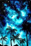 Blått gömma i handflatan vattenfärgbakgrund för den stjärnklara natten stock illustrationer
