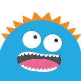 Blått gigantiskt huvud med två ögon, tänder, tunga Roligt gulligt tecknad filmtecken Behandla som ett barn samlingen kort lycklig stock illustrationer