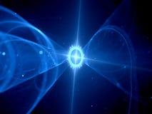 Blått glödande futuristiskt rymdskepp i utrymme stock illustrationer
