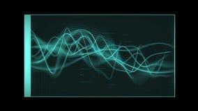 Blått-gräsplan tonade illustrerade Waveformhuvud upp skärmpanel stock video