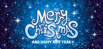 Blått hälsningkort för glad jul vektor illustrationer