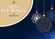 Blått hälsningkort för glad jul med hängande struntsaker royaltyfri illustrationer