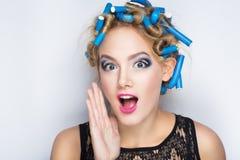 blått hårrullehår fotografering för bildbyråer
