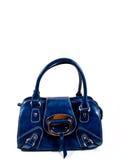 blått handväskaläder Fotografering för Bildbyråer