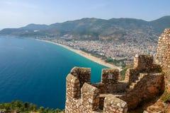 Blått hav, Alanya/Turkiet Loppbegreppsfoto royaltyfria foton