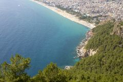 Blått hav, Alanya/Turkiet Loppbegreppsfoto arkivbild