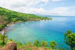 Blått hav Bali, Amed Royaltyfria Bilder