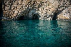 Blått hav i Zakynthos, Grekland Arkivbild