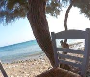 Blått hav och en traditionell stol på ön Paros royaltyfria bilder