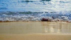 Blått hav som svaller vågen på stranden arkivfoto