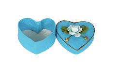 Blått Hjärta-formad ask i hjärtaform Royaltyfria Foton