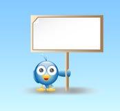 blått holdingtecken för fågel Arkivfoton
