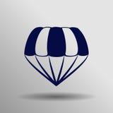 Blått hoppa fallskärm symbolen på den gråa bakgrunden Royaltyfri Foto