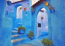 Blått hus av Chefchaouen Royaltyfri Fotografi