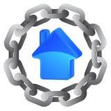 Blått hus i stark stålcirkelkedja  vektor illustrationer