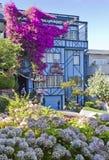 Blått hus med blommor Arkivbild