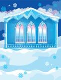 Blått hus med stora Wndows på vinter Arkivfoton