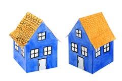 blått huspapper Royaltyfria Bilder