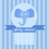Blått inbjudankort för baby shower Royaltyfri Fotografi