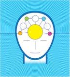 Blått infographic head begrepp stock illustrationer
