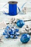 blått julband Royaltyfri Bild