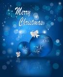 Blått julkort Royaltyfri Foto