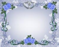 blått kantinbjudanbröllop Arkivfoto