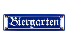Blått keramiskt Biergarten tecken Arkivbild