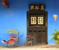 blått kinesiskt hus Arkivfoto