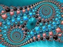 Blått, korall och den svarta abstrakta dubbla spiralen texturerade fractalen, 3d framför för affisch, design och underhållning Ba royaltyfri illustrationer