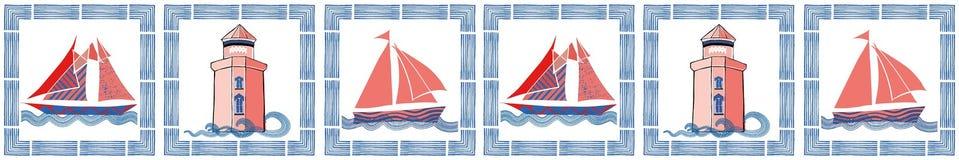 Blått, korall och vit nautisk gräns med den utdragna borsteramen för hand, segelbåtar och det ljusa huset 1866 baserde vektorn f? stock illustrationer