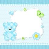 Blått kort för nallebjörn Arkivfoto
