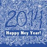 Blått kort för nytt år Arkivfoton