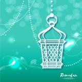 Blått kort för Ramadan Kareem berömhälsning med origamiarabiskalampan vektor illustrationer