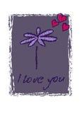 Blått kort för skönhet med blommor för valentindag Arkivbild