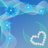 Blått kort för valentindag med pärlor hjärta och blommor Royaltyfri Fotografi
