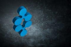 Blått krusningsvalutasymbol eller i spegelreflexion på mörka Dusty Background arkivfoton