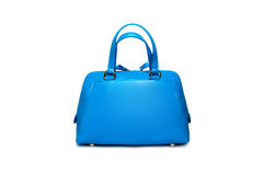 Blått kvinnlig bag-1 Royaltyfri Fotografi