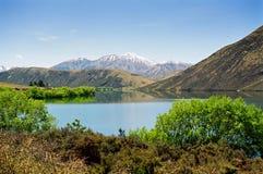 blått lakeberg New Zealand Arkivfoto
