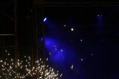 Blått ljus på etappen Briljanta ljus Arkivfoto