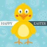 Blått lyckligt påskkort med den gulliga fågelungen Arkivbild